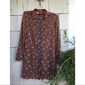 Free People brown floral shirt dress